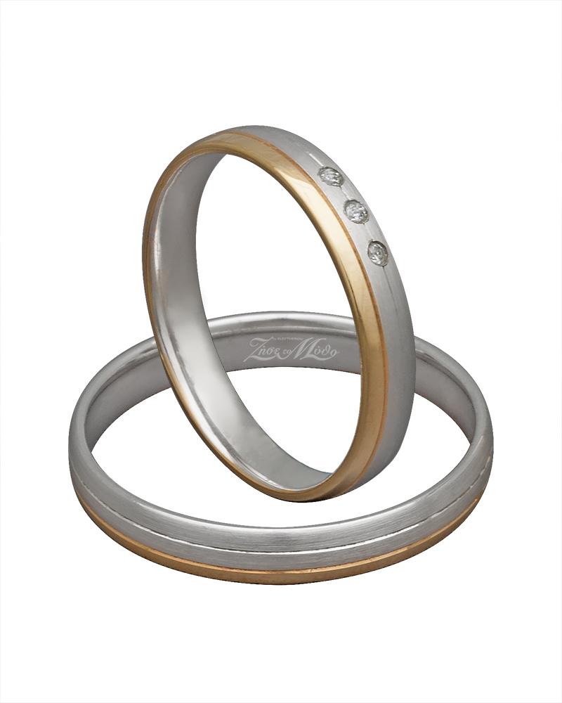 Βέρα χειροποίητη σε ροζ χρυσό & λευκόχρυσο με διαμάντια XV00283   γαμοσ βέρες γάμου   αρραβώνα βέρες δίχρωμες