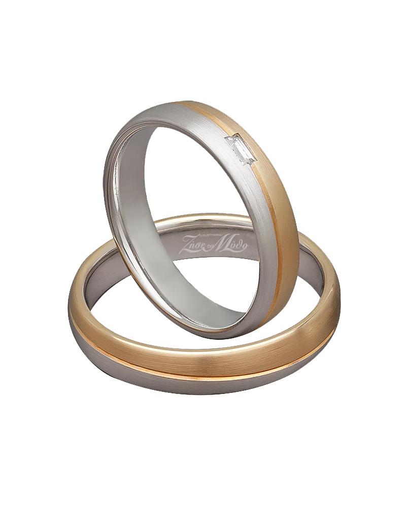 Βέρα δίχρωμη με λευκόχρυσο & κίτρινο χρυσό XV00293   γαμοσ βέρες γάμου   αρραβώνα βέρες δίχρωμες