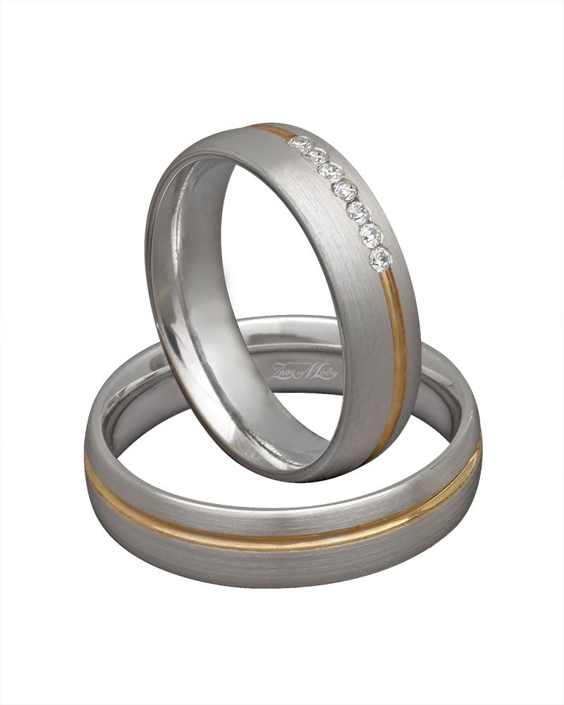 Βέρα χειροποίητη λευκόχρυση & χρυσή με διαμάντια XV00292   γαμοσ βέρες γάμου   αρραβώνα βέρες δίχρωμες