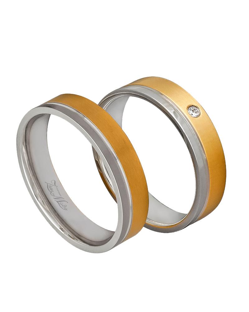 Βέρα δίχρωμη κ14 με διαμάντι XV00330   γαμοσ βέρες γάμου   αρραβώνα βέρες δίχρωμες