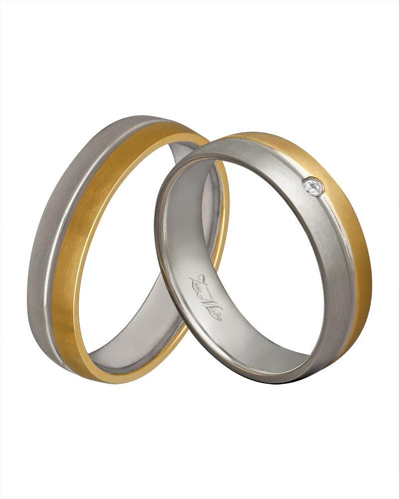 Βέρα λευκόχρυση & χρυσή κ14 με διαμάντι XV00272   γαμοσ βέρες γάμου   αρραβώνα βέρες δίχρωμες