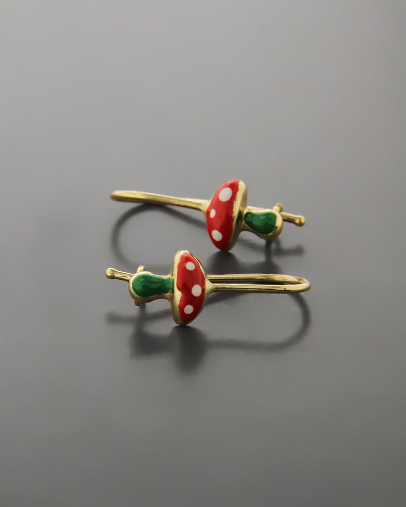Παιδικά σκουλαρίκια μανιτάρια χρυσά Κ9   παιδι σκουλαρίκια παιδικά
