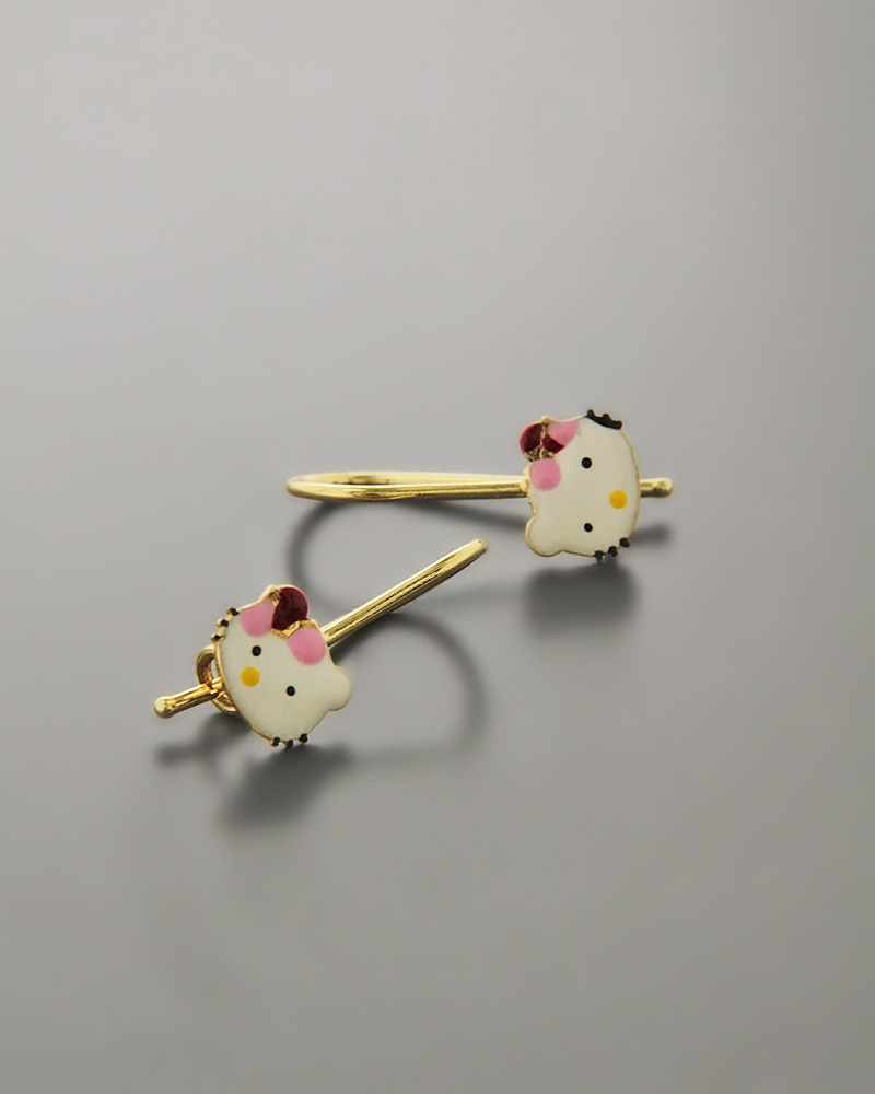 Παιδικά σκουλαρίκια Hello Kitty χρυσά Κ9   παιδι σκουλαρίκια παιδικά