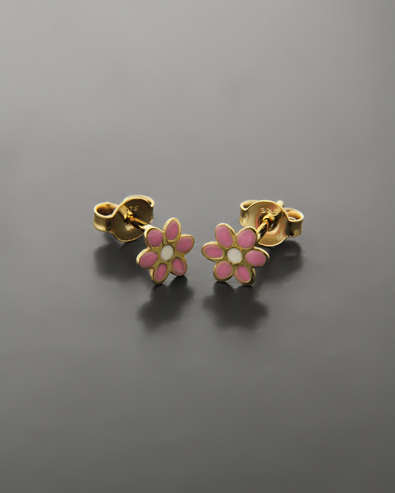 Παιδικά σκουλαρίκια λουλούδια χρυσά Κ9   παιδι σκουλαρίκια παιδικά