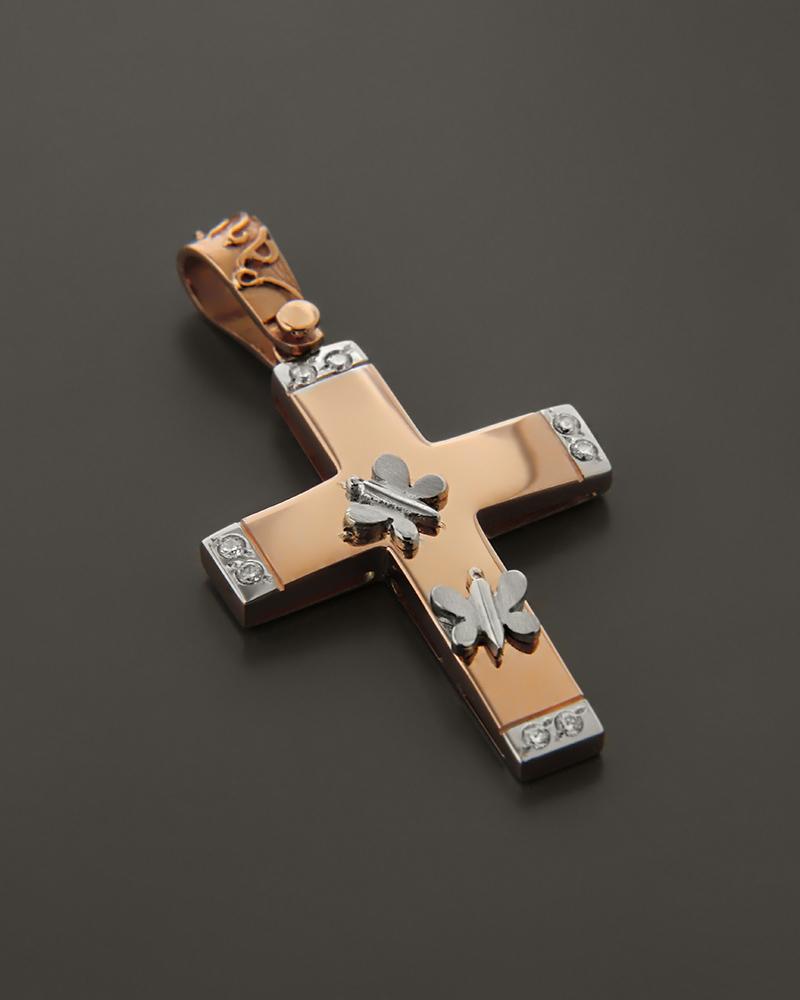 Σταυρός Ροζ Χρυσός & Λευκόχρυσος Κ14 με ζιργκόν   κοσμηματα σταυροί σταυροί ροζ χρυσό