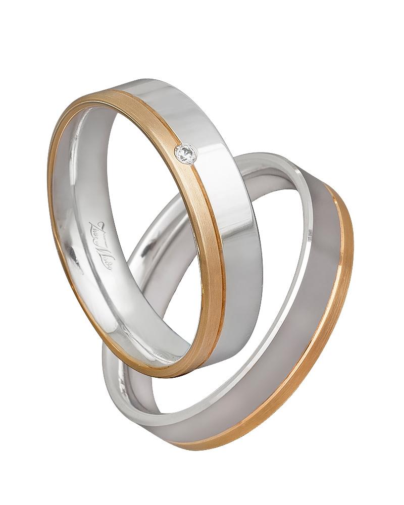 Βέρα χειροποίητη K14 σε χρυσό & λευκόχρυσο XV00533   γαμοσ βέρες γάμου   αρραβώνα βέρες δίχρωμες