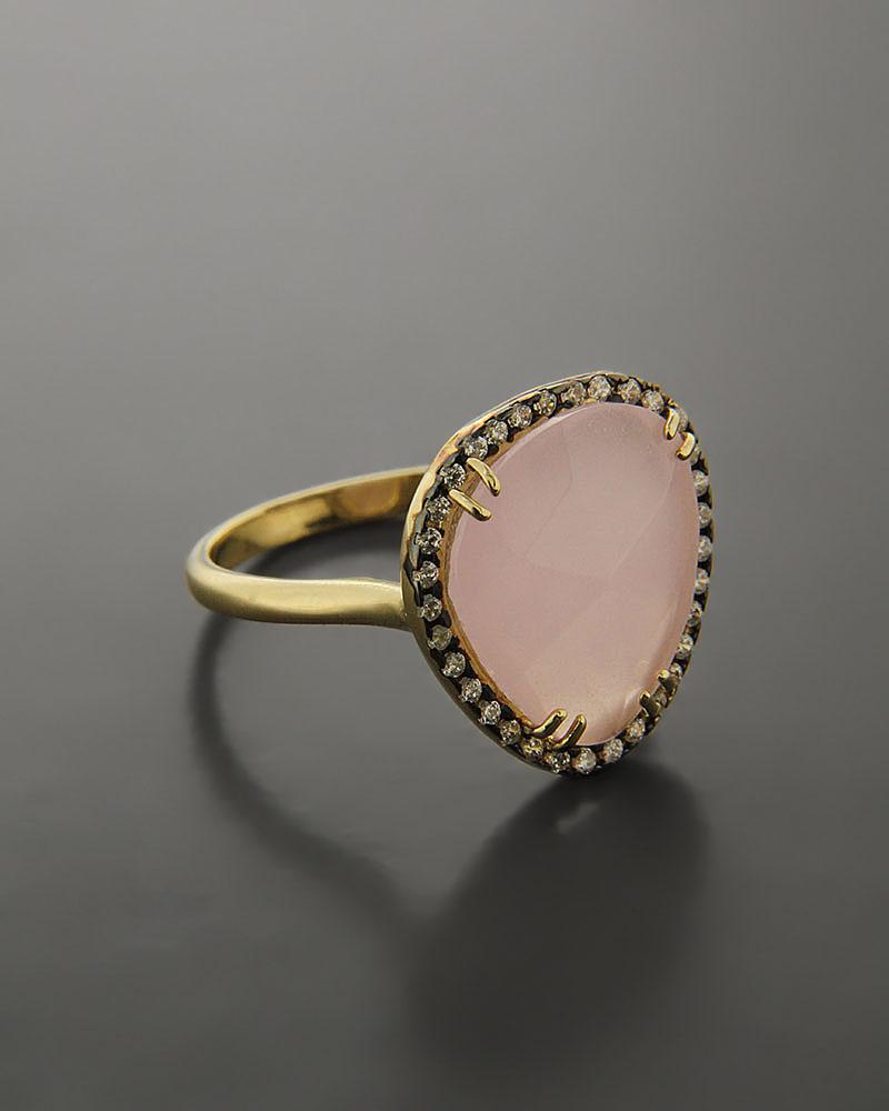 Δαχτυλίδι χρυσό Κ14 με Ζιργκόν & Quartz   κοσμηματα δαχτυλίδια δαχτυλίδια ημιπολύτιμοι λίθοι