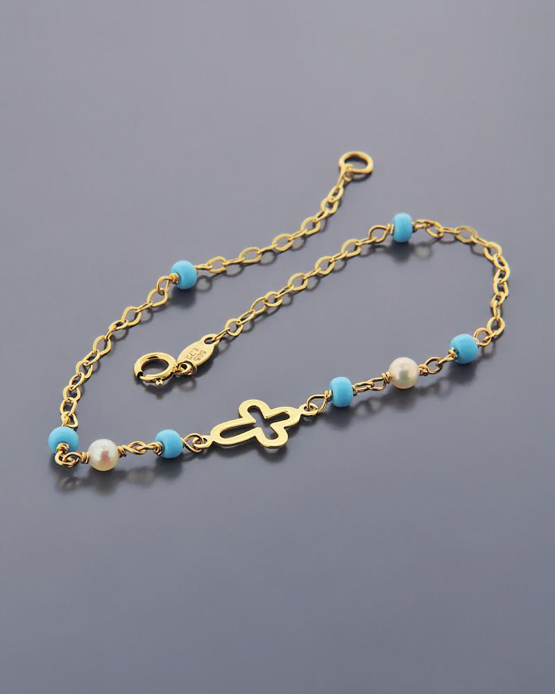 Βραχιόλι χρυσό Κ14 με Τυρκουάζ   νεεσ αφιξεισ κοσμήματα παιδικά