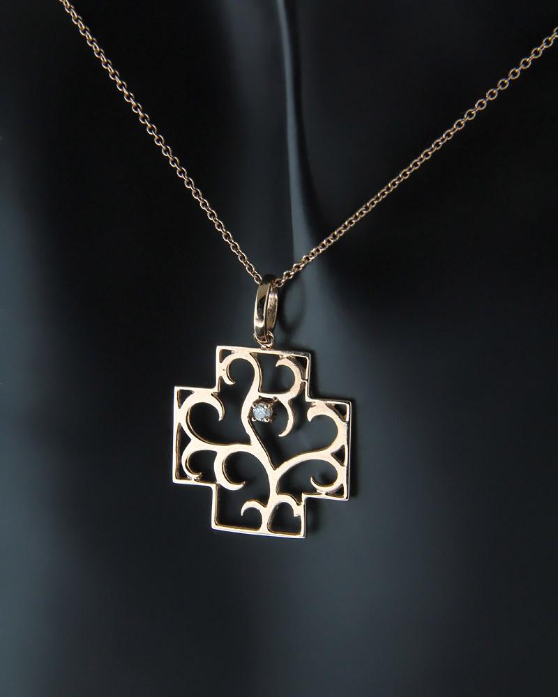 Κολιέ σταυρός ροζ χρυσός Κ18 με Διαμάντι   κοσμηματα κρεμαστά κολιέ κρεμαστά κολιέ διαμάντια