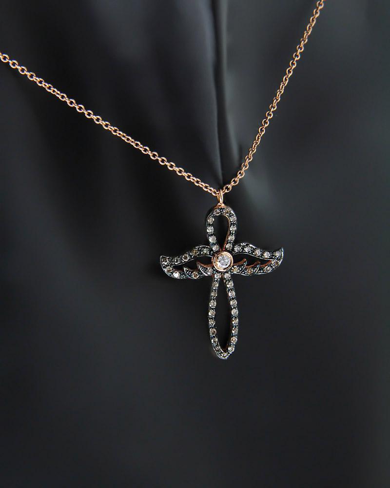 Κολιέ σταυρός ροζ χρυσός Κ18 με Διαμάντια   παιδι σταυροί με αλυσίδα