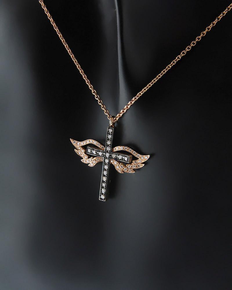 Κολιέ σταυρός ροζ χρυσός Κ18 με Διαμάντια   κοσμηματα σταυροί με αλυσίδα