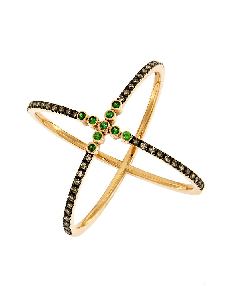 Δαχτυλίδι Ροζ Χρυσό Κ18 με Διαμάντια & Τσαβορίτη