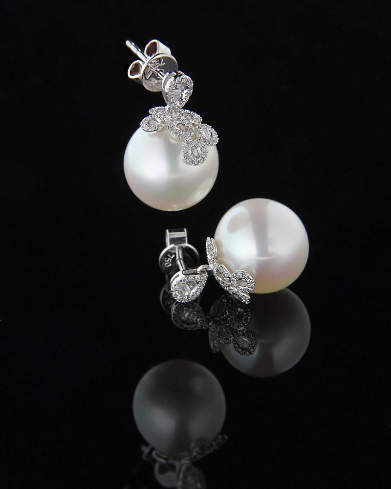 Σκουλαρίκια λευκόχρυσα Κ18 με Διαμάντια και Μαργαριτάρι