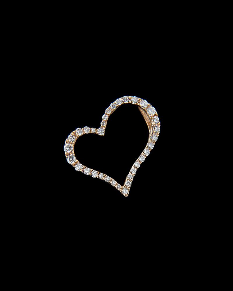 Κρεμαστό καρδιά ροζ χρυσό Κ18 με Διαμάντια   κοσμηματα κρεμαστά κολιέ κρεμαστά κολιέ ροζ χρυσό