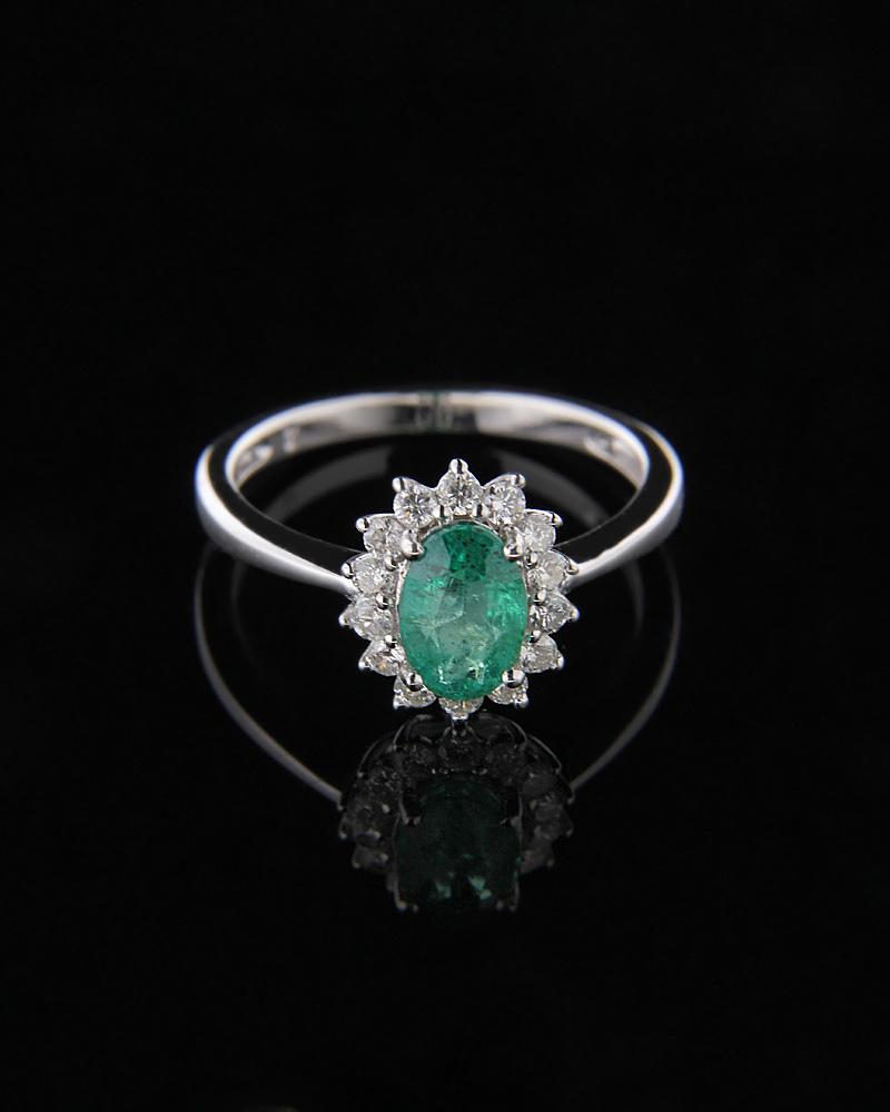 Δαχτυλίδι λευκόχρυσο Κ18 με Σμαράγδι & Διαμάντια   γυναικα δαχτυλίδια δαχτυλίδια διαμάντια