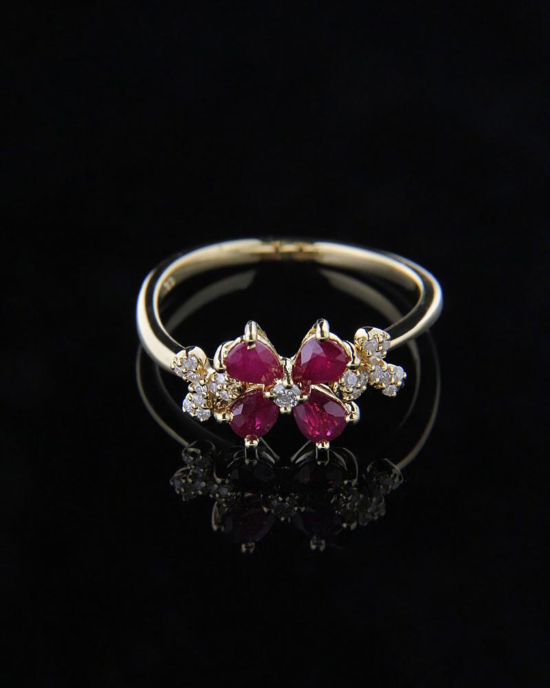 Δαχτυλίδι Χρυσό Κ18 με Ρουμπίνια & Διαμάντια   γυναικα δαχτυλίδια δαχτυλίδια διαμάντια