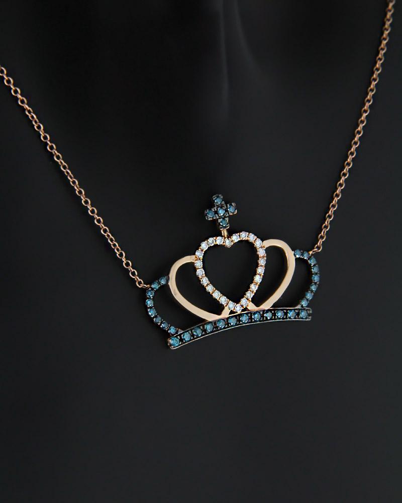Κολιέ στέμμα ροζ χρυσό Κ18 με Διαμάντια   κοσμηματα κρεμαστά κολιέ κρεμαστά κολιέ ροζ χρυσό