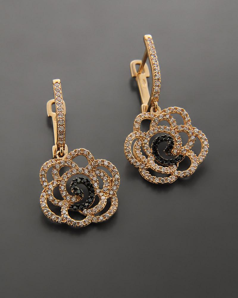 Σκουλαρίκια Ροζ Χρυσό Κ9 με Ζιργκόν   γυναικα σκουλαρίκια σκουλαρίκια fashion