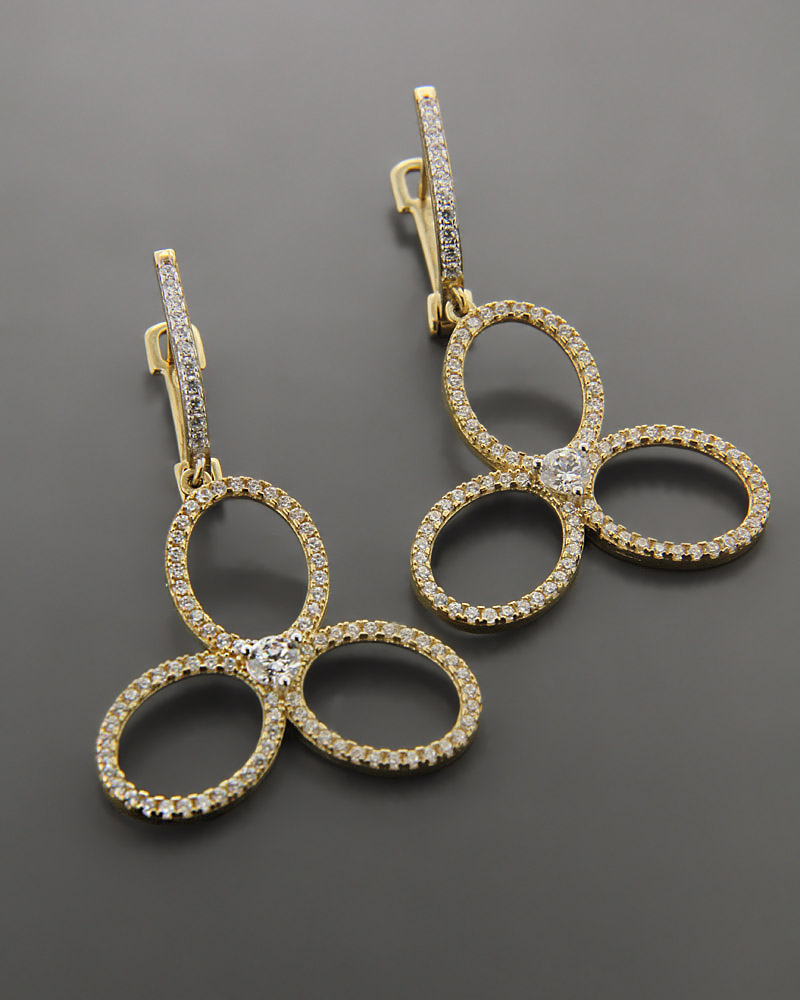 Σκουλαρίκια Χρυσά Κ9 με Ζιργκόν   γυναικα σκουλαρίκια σκουλαρίκια fashion