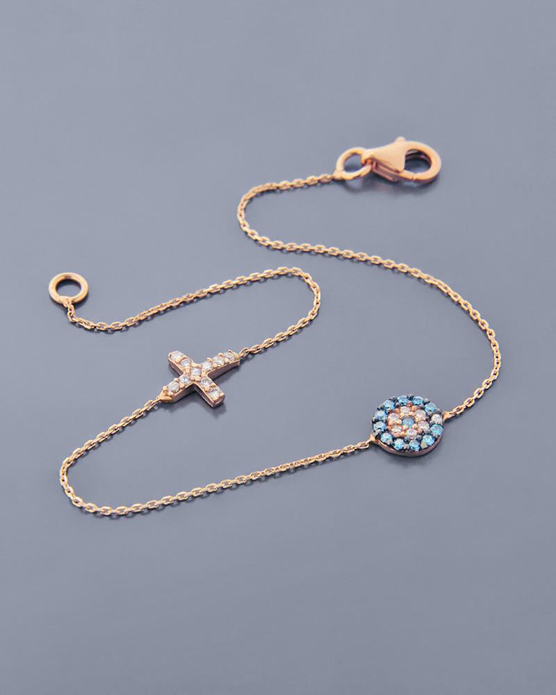 Βραχιόλι ματάκι ροζ χρυσό Κ14 με Ζιργκόν   γυναικα κοσμήματα με ματάκι