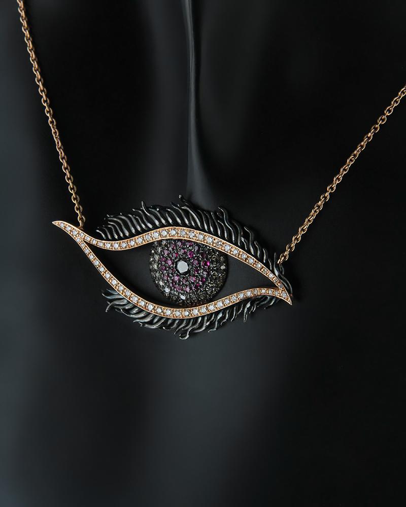 Κολιέ ροζ χρυσό Κ18 με Διαμάντια & Ρουμπίνια   κοσμηματα κρεμαστά κολιέ κρεμαστά κολιέ ροζ χρυσό
