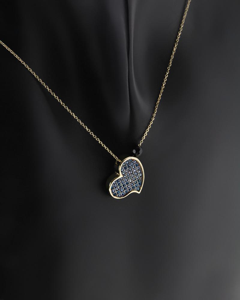 Κολιέ καρδιά χρυσό Κ14 με Ζιργκόν & Όνυχα   κοσμηματα κρεμαστά κολιέ κρεμαστά κολιέ καρδιές