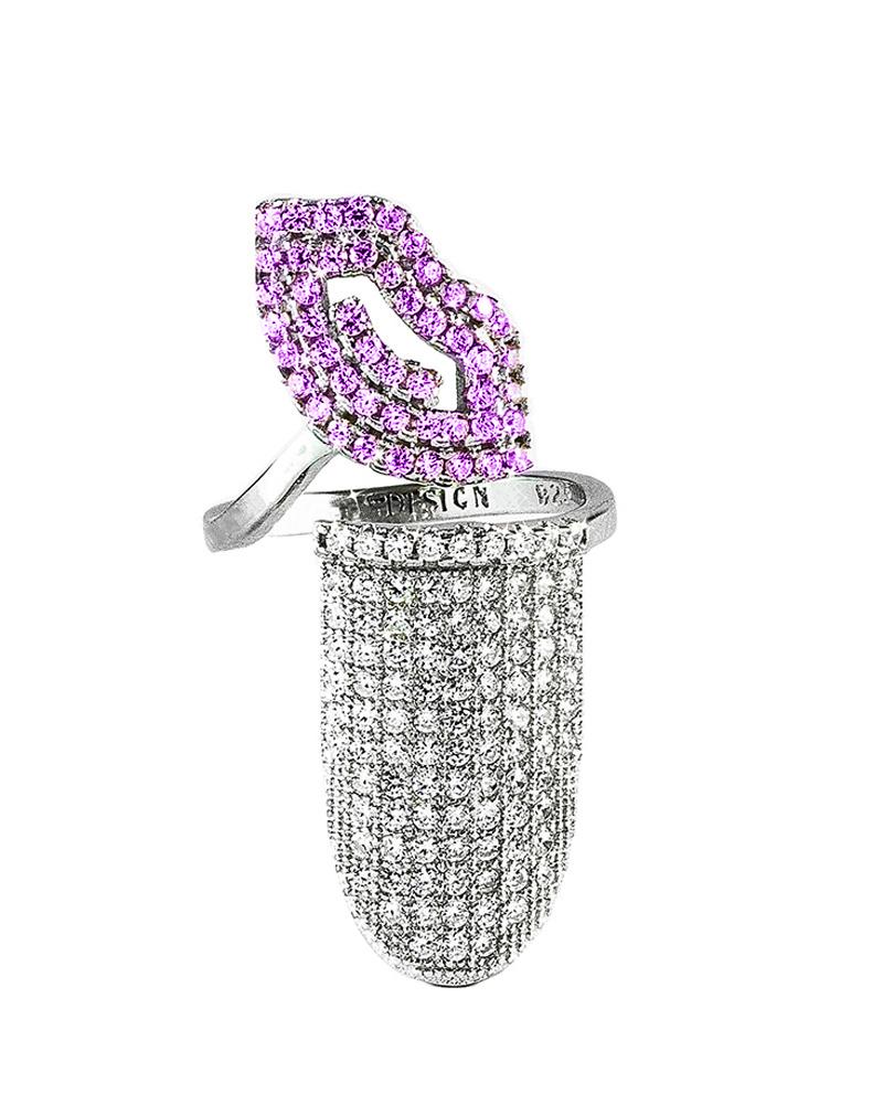 Δαχτυλίδι νυχιού ασημένιο με ζιργκόν AD04063   γυναικα δαχτυλίδια δαχτυλίδια ασημένια