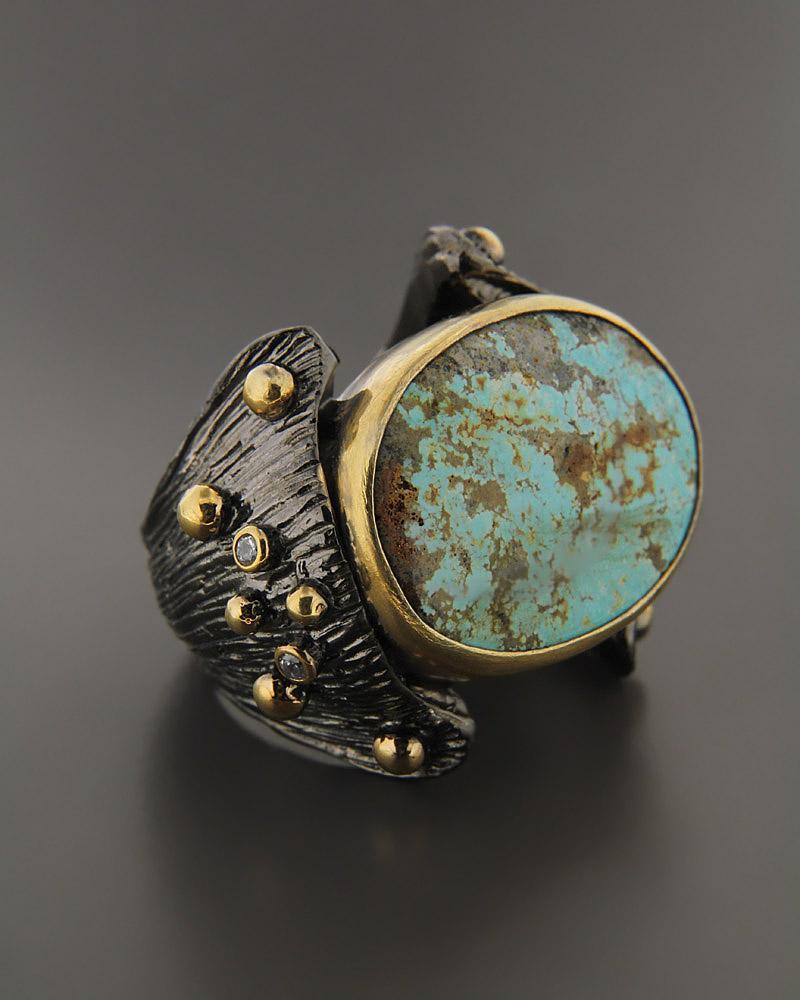 Δαχτυλίδι ασημένιο με Τυρκουάζ & Ζιργκόν   κοσμηματα δαχτυλίδια δαχτυλίδια ημιπολύτιμοι λίθοι