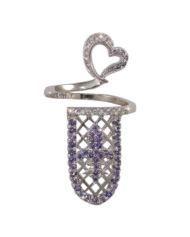 Δαχτυλίδι νυχιού ασημένιο με ζιργκόν AD04075   γυναικα δαχτυλίδια δαχτυλίδια ασημένια