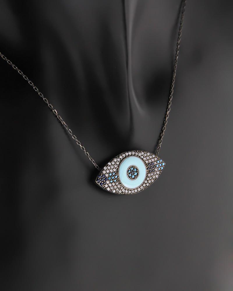 Κολιέ μάτι ασημένιο με Τυρκουάζ, Σμάλτο & Ζιργκόν   γυναικα κοσμήματα με ματάκι