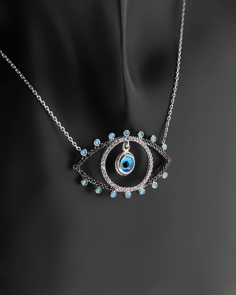 Κολιέ μάτι ασημένιο με Τυρκουάζ & Ζιργκόν   γυναικα κοσμήματα με ματάκι