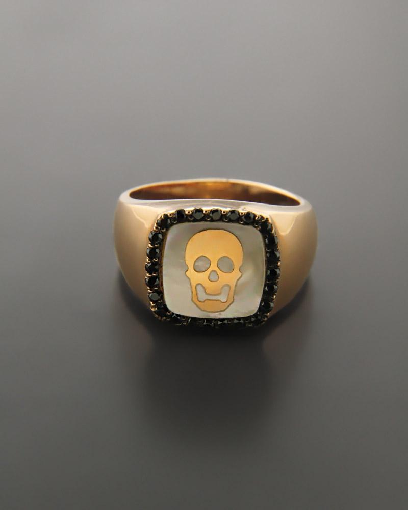 Δαχτυλίδι σεβαλιέ Ροζ Χρυσό Κ14 με Zιργκόν & Φίλντισι   γυναικα δαχτυλίδια δαχτυλίδια chevalier