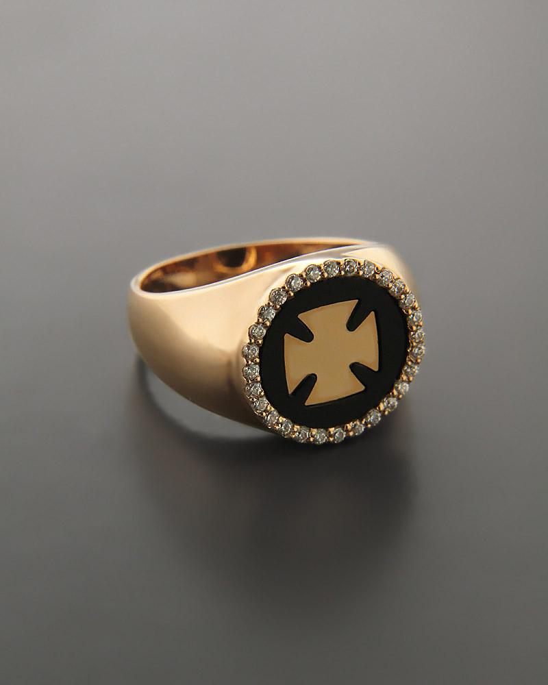 Δαχτυλίδι σεβαλιέ Ροζ Χρυσό Κ14 με Zιργκόν   γυναικα δαχτυλίδια δαχτυλίδια chevalier