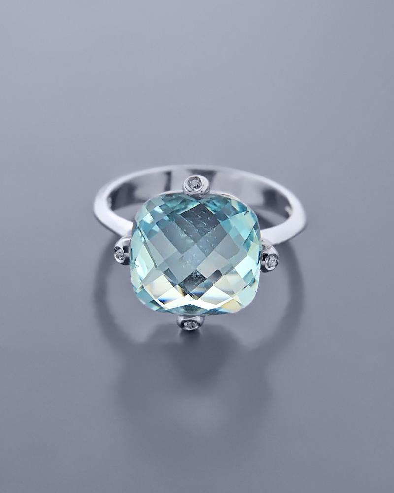 Δαχτυλίδι Λευκόχρυσο Κ14 με Κρύσταλλο   γαμοσ μονόπετρα μονοπετρα με ζιργκόν