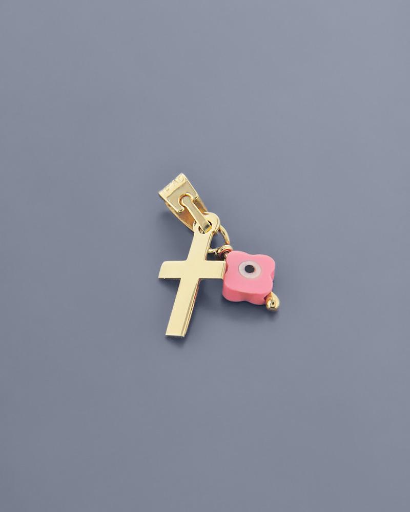 Κρεμαστό χρυσό K9 με Κοράλλι   γυναικα κοσμήματα με ματάκι