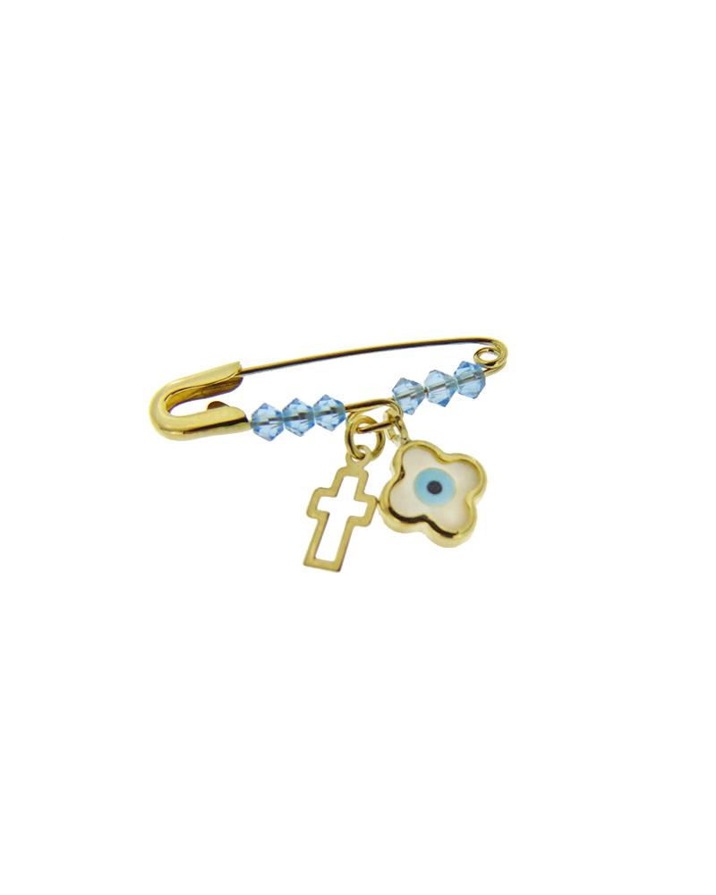 Παιδική παραμάνα χρυσή Κ9 με Swarovski & Φίλντισι   κοσμηματα κρεμαστά κολιέ παιδικά φυλαχτά