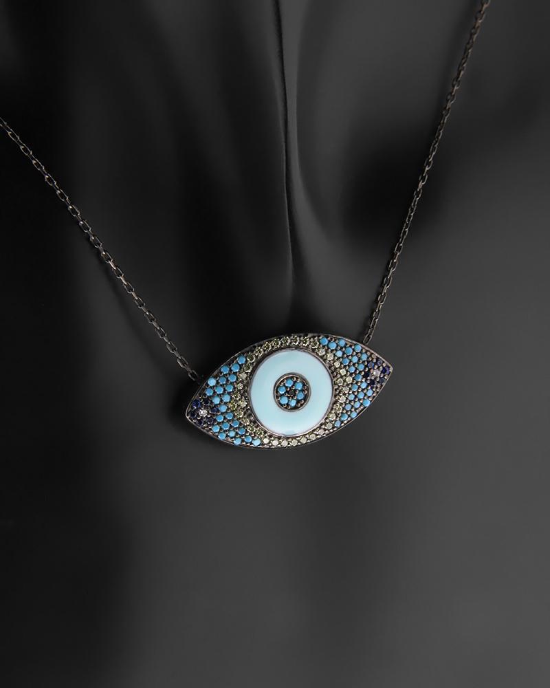 Κολιέ μάτι ασημένιο με Ζιργκόν & Τυρκουάζ   γυναικα κοσμήματα με ματάκι