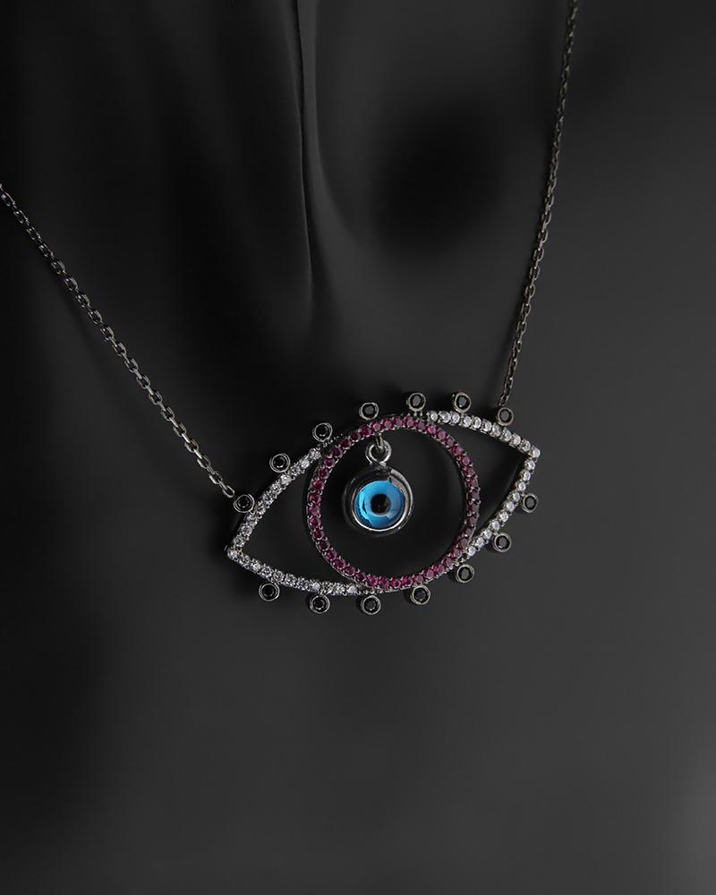 Κολιέ μάτι ασημένιο με Ζιργκόν   γυναικα κοσμήματα με ματάκι