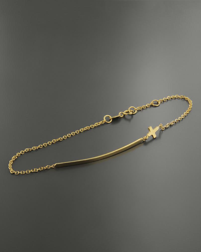 Βραχιόλι χρυσό Κ14 με σταυρό   γυναικα βραχιόλια βραχιόλια χρυσά