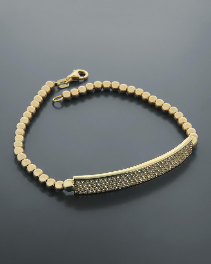 Βραχιόλι χρυσό Κ14 με ζιργκόν   γυναικα βραχιόλια βραχιόλια χρυσά
