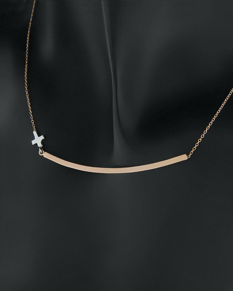Κολιέ χρυσό & λευκόχρυσο Κ14 με σταυρό   νεεσ αφιξεισ κοσμήματα γυναικεία