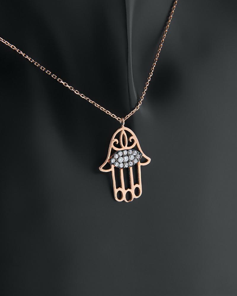 Κολιέ ροζ χρυσό Κ14 χέρι της Φατιμά με ζιργκόν   γυναικα κρεμαστά κολιέ κρεμαστά κολιέ ροζ χρυσό