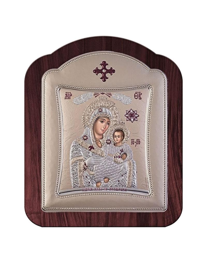 Εικόνα Παναγία της Βηθλεέμ, ξύλινη μπορντούρα με στεφάνι 00120TR   δωρα εικόνες