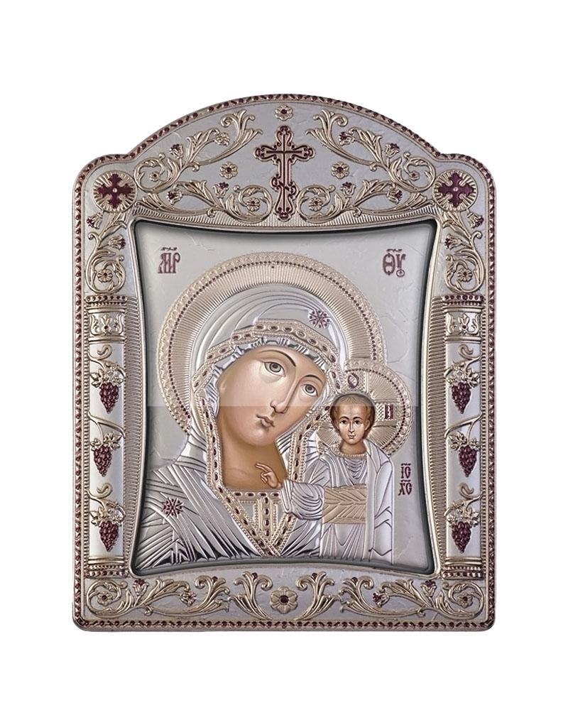 Εικόνα Παναγία Καζάνσκα, με στεφάνι & τζάμι 00144TFWNS   δωρα εικόνες
