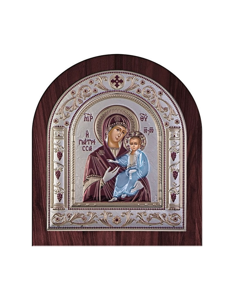 Εικόνα Παναγία Γιάτρισσα, ξύλινη μπορντούρα με στεφάνι 00201ORWN   δωρα εικόνες