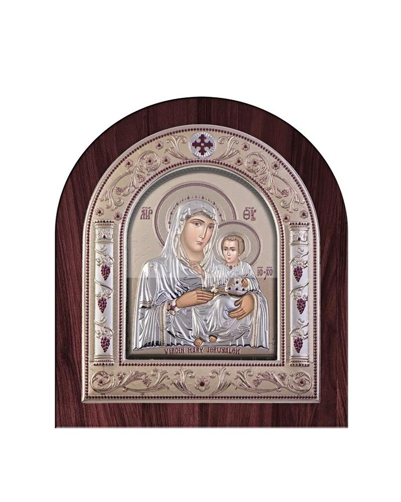 Εικόνα Παναγία Ιεροσολυμίτισσα, ξύλινη μπορντούρα με στεφάνι & τ   δωρα εικόνες