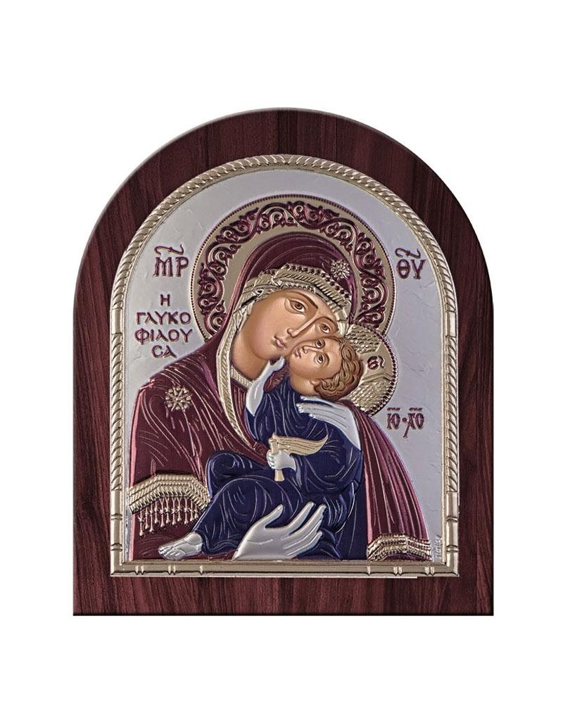 Εικόνα Παναγία Γλυκοφιλούσα, ξύλινη μπορντούρα 00206ORW   δωρα εικόνες