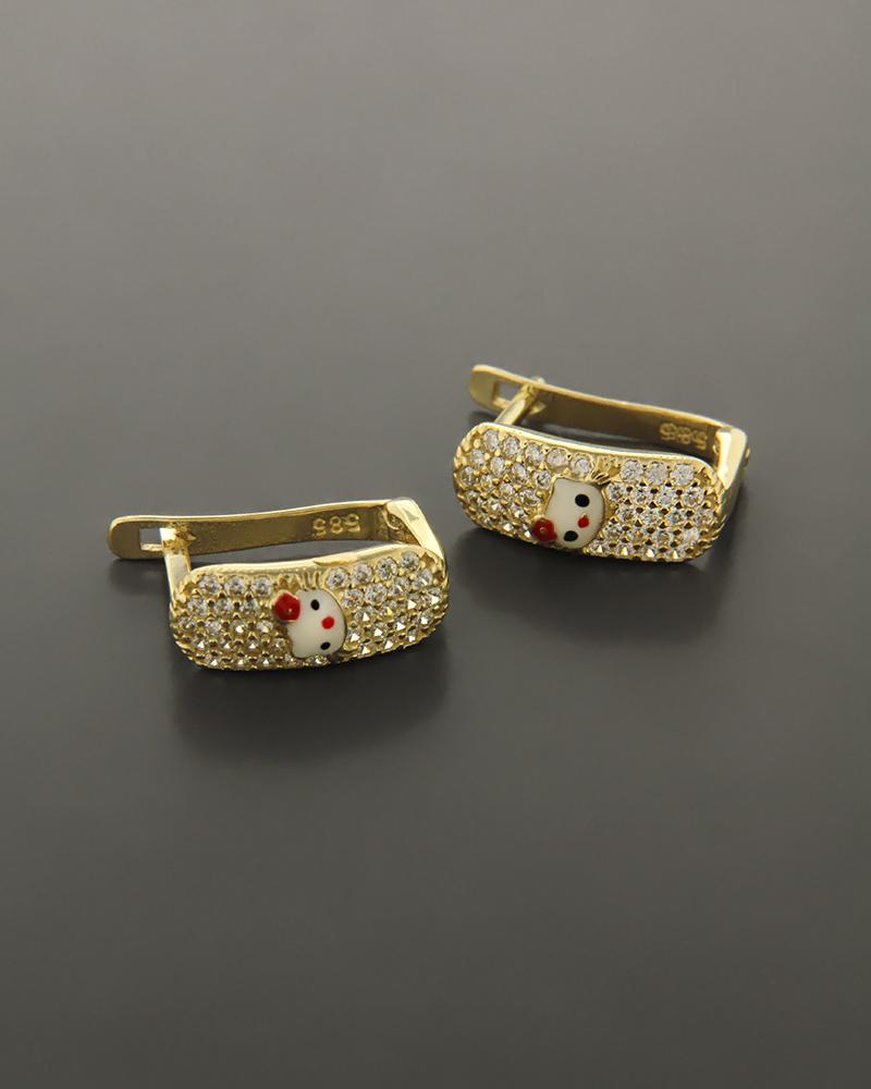 Σκουλαρίκια χρυσά Κ14 με Σμάλτο & Ζιργκόν   γυναικα κοσμήματα για τη μαμά