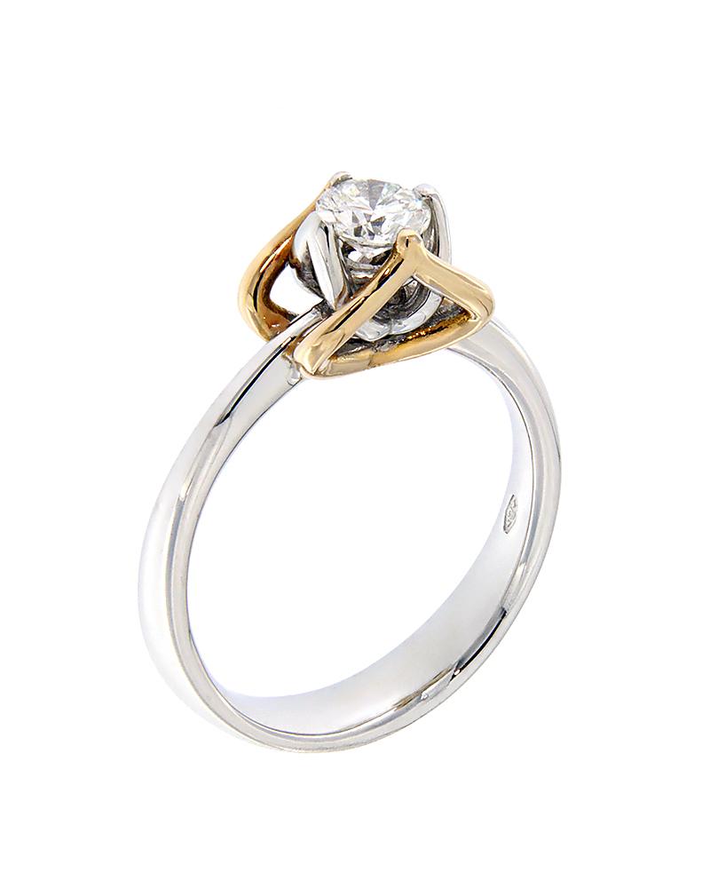 Μονόπετρο δαχτυλίδι λευκόχρυσο & ροζ χρυσό Κ18 με Διαμάντι   γαμοσ μονόπετρα μονοπετρα με διαμάντια