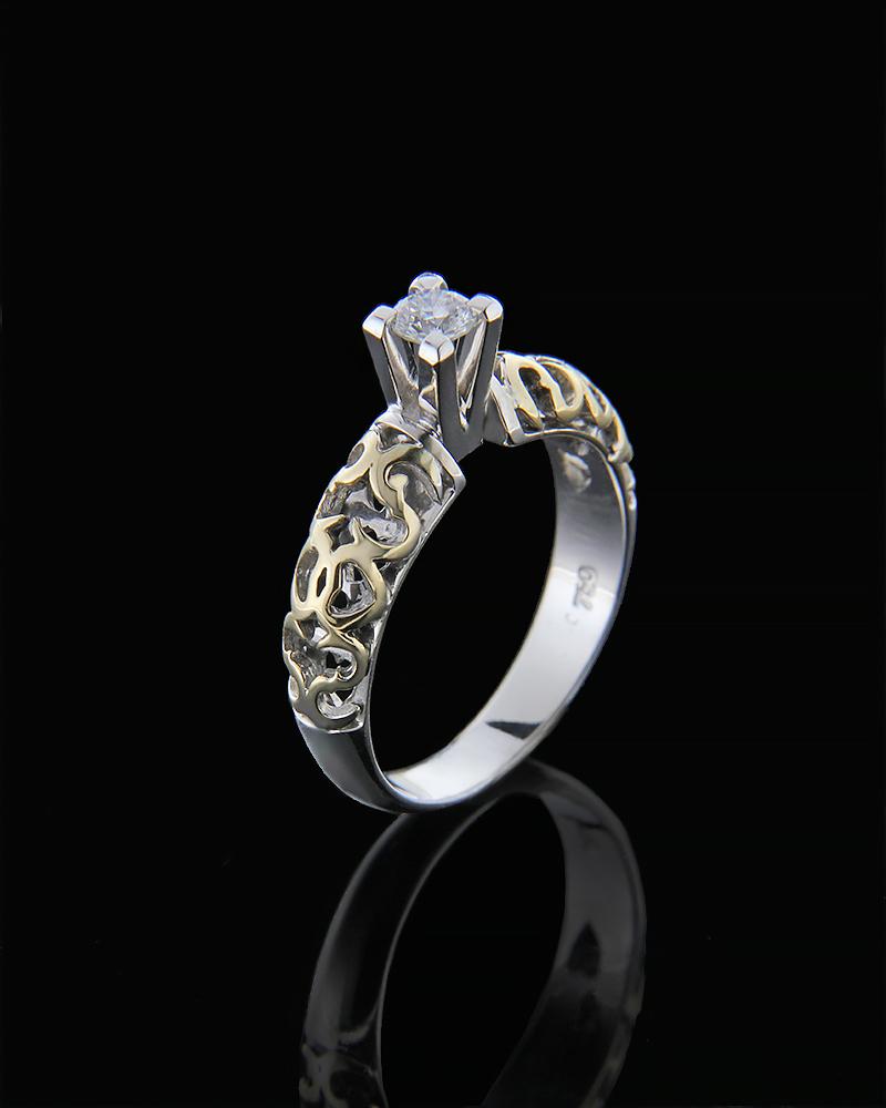 Μονόπετρο δαχτυλίδι λευκόχρυσο & χρυσό Κ18 με Διαμάντι   γαμοσ μονόπετρα μονοπετρα με διαμάντια